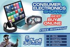 De abstracte vlieger voor het winkelen op homepage van Web van consument verkiest Royalty-vrije Stock Afbeeldingen