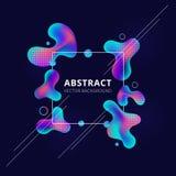 De abstracte in vloeibare kleuren van de vorm heldere gradiënt op donkere achtergrond Het witte van de kadervloeistof of inkt ele vector illustratie