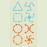 De abstracte vormen van de richtingspijl in verschillende geplaatste kleuren Royalty-vrije Stock Foto