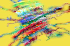 De abstracte vormen van de verfwaterverf op gele achtergrond Stock Fotografie