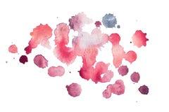 De abstracte waterverfaquarelle hand getrokken vlekken kleurrijke rode verf ploetert vlek Stock Afbeelding