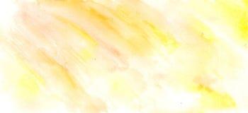 De abstracte waterverfhand schilderde gele en witte achtergrond, Stock Fotografie