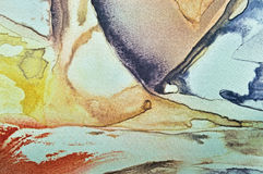 De abstracte waterverfverf, geschilderde geweven horizontale het canvas van de zijdestof macroclose-up als achtergrond, drukte bl Royalty-vrije Stock Fotografie