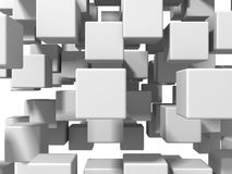 De abstracte Witte Achtergrond van de Kubussenmuur Stock Fotografie