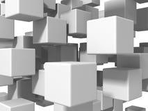 De abstracte Witte Achtergrond van de Kubussenmuur Stock Afbeeldingen