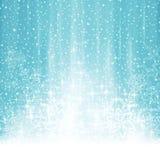 De abstracte witte blauwe achtergrond van de winterkerstmis met sneeuwval Stock Afbeelding