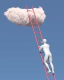 De abstracte witte mens beklimt aan de wolk Royalty-vrije Stock Afbeelding