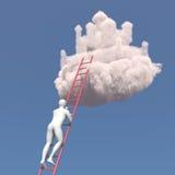 De abstracte witte mens beklimt aan het wolkenkasteel Stock Afbeeldingen