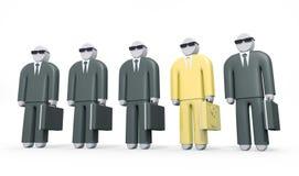 De abstracte zakenman die gouden kostuum dragen bevindt zich onder andere mensen Stock Foto's