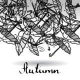 De abstracte zwart-witte achtergrond rasterized paraplu's royalty-vrije illustratie