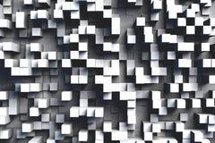 De abstracte Zwart-witte of Grijze 3d Geometrische Kubus betegelt Achtergrondontwerppatroon in Helder Licht royalty-vrije illustratie