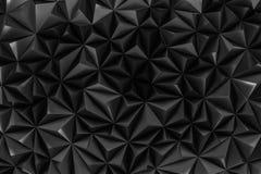 De abstracte zwarte lage polyachtergrond met 3d exemplaarruimte geeft terug Royalty-vrije Stock Afbeeldingen
