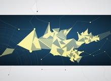 De abstracte zwarte netwerkdriehoek en banner van de toesteltechnologie Stock Foto's
