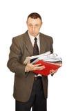 De accountant houdt documenten Stock Foto's