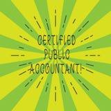De Accountant van de handschrifttekst De conceptenbetekenis accrediteerde professioneel lichaam van accountants verdunt Straal stock illustratie
