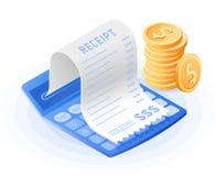 De accountantscalculator, document rekeningsbetaling, stapel muntstukken Stock Foto's