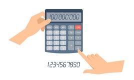 De accountantshand houdt bureau, schoolcalculator en tellingenbusin Stock Afbeeldingen