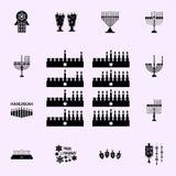De acht dagen van Hanukah-pictogram Voor Web wordt geplaatst dat en het mobiele algemene begrip van Chanoekapictogrammen royalty-vrije illustratie