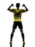 De achter van de het voetbalvoetbalster van het meningsportret Braziliaanse jonge mens po stock afbeeldingen