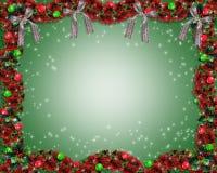 De achtergrond of de grens van de Slinger van Kerstmis Royalty-vrije Stock Afbeeldingen
