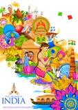 De achtergrond die van India zijn cultuur en diversiteit tonen Stock Foto