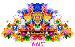 De achtergrond die van India zijn cultuur en diversiteit tonen stock illustratie