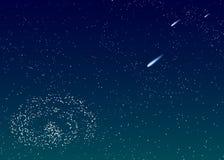 De achtergrond is donkerblauwe sterrige hemel met kometen Royalty-vrije Stock Fotografie