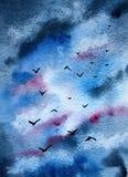 De achtergrond is de hemel met vogels royalty-vrije illustratie