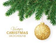 De achtergrond met de vectortakken van de Kerstmisboom en het hangen schitteren bal Royalty-vrije Stock Afbeeldingen