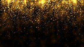 De achtergrond met gouden vallen schittert deeltjes Dalend gouden confettien magisch licht Mooie lichte achtergrond Naadloze lijn stock illustratie