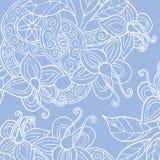 De achtergrond met hand getrokken bloemen, doorbladert en lint vector illustratie
