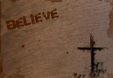 De achtergrond met Kruis en gelooft Stock Foto
