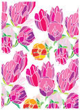 De achtergrond met tulpen bloeit roze Royalty-vrije Stock Fotografie