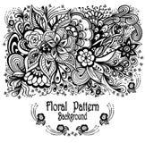De achtergrond met zen-Krabbel bloeit patroonzwarte op wit Royalty-vrije Stock Afbeelding