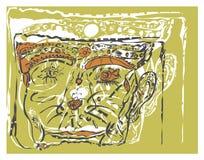De achtergrond schilderde grijze contour het gezicht van fictieve karakters Stock Afbeelding