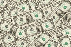 De achtergrond van één dollarrekeningen Royalty-vrije Stock Foto