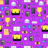 De Achtergrond van Accessory Seamless Pattern van de beeldverhaalonderneemster Vector stock illustratie
