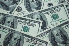 De achtergrond van Amerikaanse 100 dollarsbankbiljetten, sluit omhoog Royalty-vrije Stock Afbeelding
