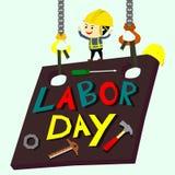 De achtergrond van de arbeidsdag met arbeider op metaalplaat vector illustratie