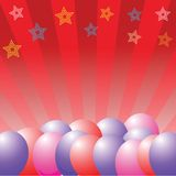 De achtergrond van ballons en van sterren Stock Foto