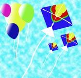 De achtergrond van Baloon en van de Vlieger Royalty-vrije Stock Afbeelding