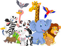 De achtergrond van beeldverhaalwilde dieren Stock Afbeelding