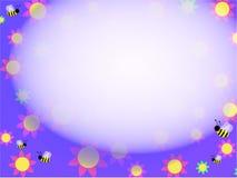 De achtergrond van bijen en van bloemen Royalty-vrije Stock Foto's