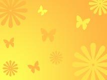 De achtergrond van bloemen en van vlinders Stock Foto's