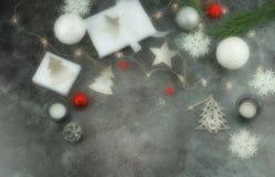 De achtergrond van Blurekerstmis creatieve abstracte samenstelling van Kerstmisdecoratie Royalty-vrije Stock Afbeelding