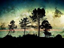 De achtergrond van bomen grunge vector illustratie