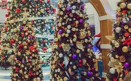De achtergrond van de de bomenvakantie van Kerstmiskerstmis Stock Afbeeldingen