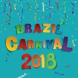 De achtergrond van Brazilië Carnaval 2018 met confettien en kleurrijke linten Stock Fotografie