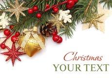 De achtergrond van CChristmas met de decoratie van Kerstmis Royalty-vrije Stock Foto