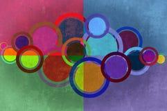 De achtergrond van cirkels en van rechthoeken grunge. royalty-vrije stock afbeeldingen